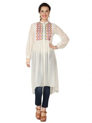 Buy Soie Off White Sheer Georgette Tunic For Women online