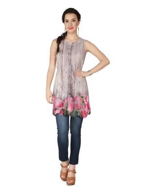 Buy Soie Printed Heavy Poly Lycra Printed Embroidered Fabric Tunic For Women online