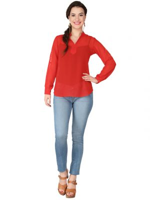 Buy Soie Red Georgette Top For Women online