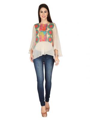 Buy Soie Printed Printed Georgette Top For Women (code - 6117_i) online