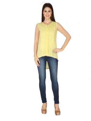 Buy Soie Yellow Lace Fabric, Georgette Top For Women online