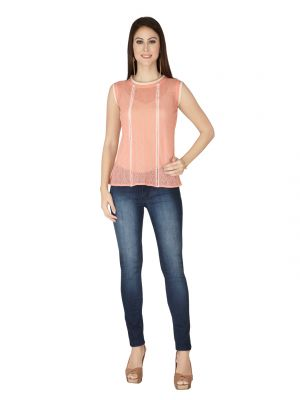 Buy Soie Peach Lace Fabric Top For Women online