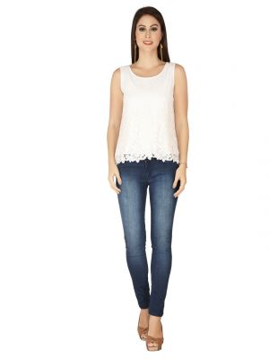 Buy Soie Off White Embroidered Fabric, Georgette Top For Women online