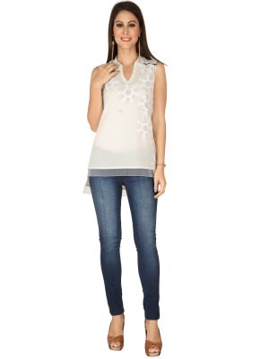 Buy Soie Off White Georgette, Embroidered Fabric Top For Women online