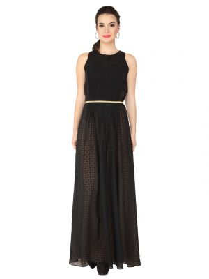 Buy Soie Black Georgette, Printed Maxi For Women online