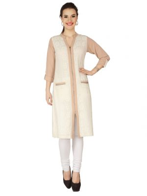 Buy Soie Beige Lace Fabric, Georgette Tunic For Women online
