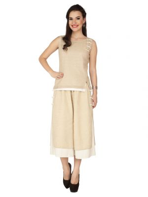 Buy Soie Ivory Jute, Blended Linen Top For Women (code - 6295) online