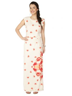 Buy Soie Off White Printed Georgette Crop Top For Women online