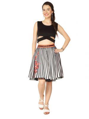 Buy Soie Black Poly Lycra Crop Top For Women (code - 6270black) online