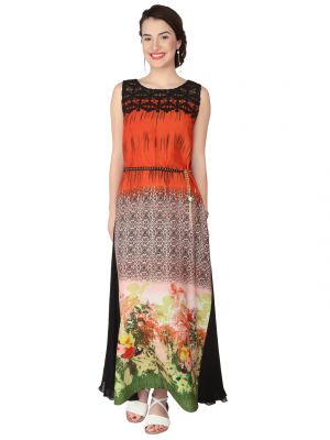 Buy Soie Printed All Over Printed Crepe, Embroidered Fab, Georgette Maxi For Women online