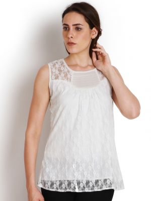 Buy Soie Casual Sleeveless Self Design Women'S Top online