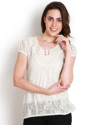 Buy Soie Casual Short Sleeve Self Design Women'S White Top online