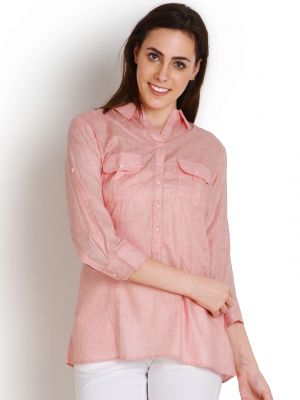 Buy Soie Casual Roll-Up Sleeve Solid Women'S Top online