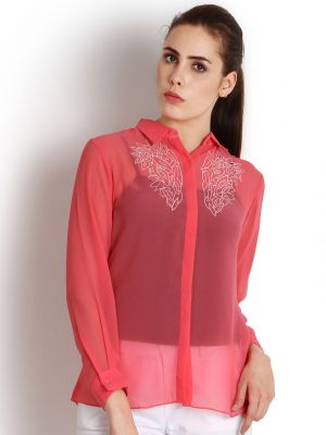 Buy Soie Casual Full Sleeve Solid Women'S Top_Pink online