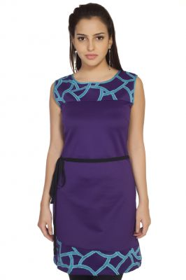 Buy Soie Polyester Blend Dress, Contrast Patch online