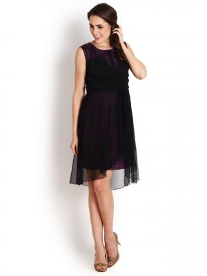 Buy Soie Draped Ggt Dress, Contrast Lace Lining. online