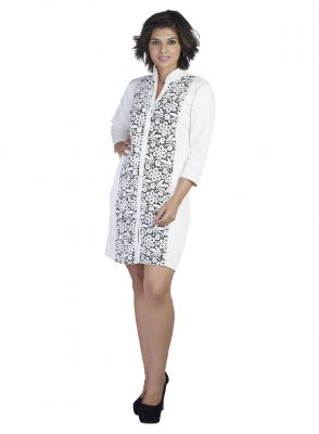 Buy Soie 3/4Th Sleeve Polyester Blend Dress, Lace Front Panel_White online