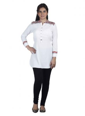 Buy Soie Crepe Tunic, Thread Embroidery On Cuffs & Shoulder Yoke. online