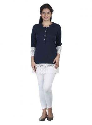 Buy Soie Crepe Tunic, Lace Detailing At The Hem & Sleeves online