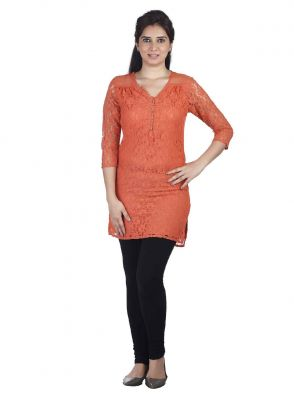 Buy Soie 34Th Sleeve Lace Tunic, Side Slits & Diamond Buttons_Orange online