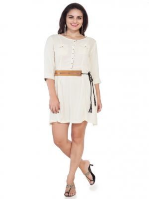 Buy Soie 34Th Sleeve Rayon Tunic, Patch Pockets, Flap & Leather Belt_Off White online