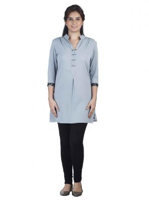 Buy Soie 34Th Sleeve Crepe Tunic, Tiger Print Cuffs _Grey online