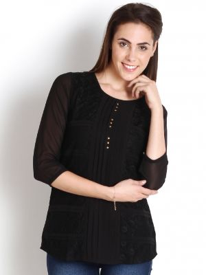 Buy Soie 34Th Sleeve  Top, Lace Panels & Pleats_Black online