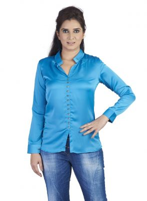 Buy Soie Light Weight Satin Shirt, Roll-Up Sleeves_Blue online
