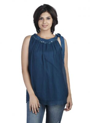 Buy Soie Chiffon Top, Gathered At The Neck, Bead Embellishment & Side Tie Up online