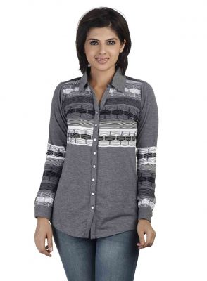 Buy Soie Full Sleeve Printed Knit, Front Open Shirt_Grey online