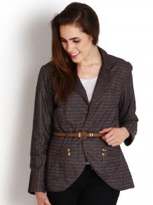 Buy Soie Striped Linen Blend Jacket, Zipper Detailing & Belt online