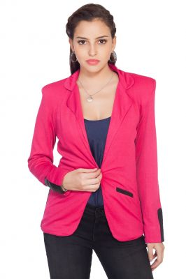 Buy Soie Polyester Blend Jacket, Faux Leather Side Panels & Detailing online