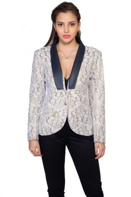 Buy Soie Lace Jacket, Contrast Satin Lapel & Shimmer Lining online