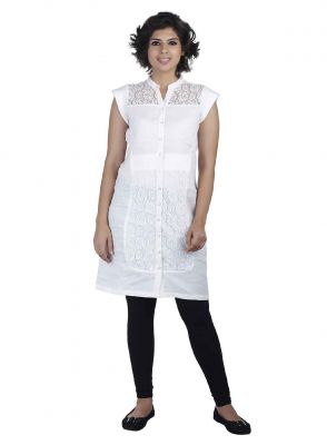 Buy Soie Cap Sleeve Cotton Tunic, Lace Yoke & Panels_White online