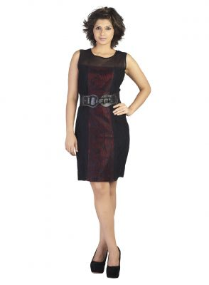 Buy Soie This Classy Dress Has Lacy Fabric Combined By Net & Accessorized By A Belt At The Waist online