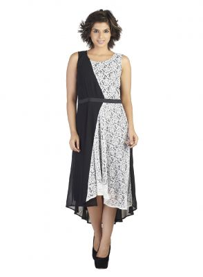 Buy Soie  & Lacy Fabric Uneven Hem Dress, A Waist Black online