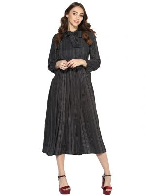Buy Soie Women's Tie Up Neck T-Length Dress online