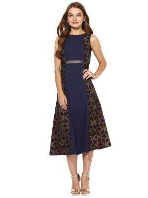 Buy Soie Women's Fit And Flare Side Printed Dress online