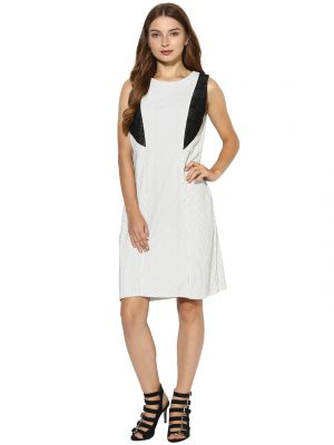 Buy Soie Women's Stripes Dress With Lace online