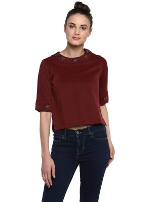 Buy Soie Women'S Maroon Embroidered Crop Top online
