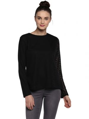 Buy Soie Women'S Black One Side Lace Short Top online