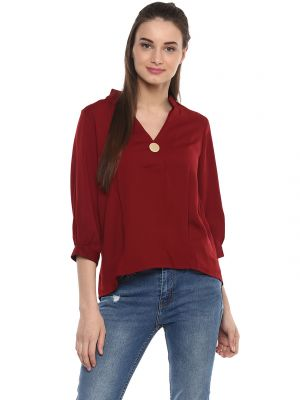 Buy Soie Women'S Maroon Back Button Basic Top online