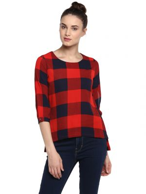 Buy Soie Women'S Red Keyhole Sleeve Checks Top online