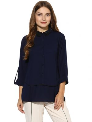 Buy Soie Women's  Navy Blue  Lace Collar Double Layer Top online