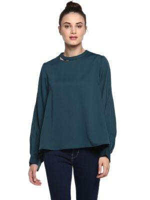 Buy Soie Women'S Olive Cut Out Sleeve Top online