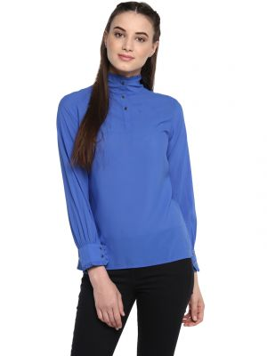 Buy Soie Women'S Navy Blue High Neck Gathered Top online