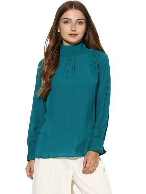 Buy Soie Women's  Green  High Neck Gathered Top online