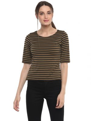 Buy Soie Women'S Brown Stripes Crop Top online