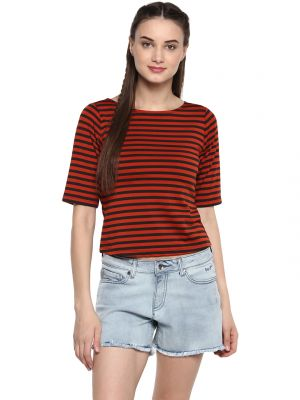 Buy Soie Women'S Rust Stripes Crop Top online