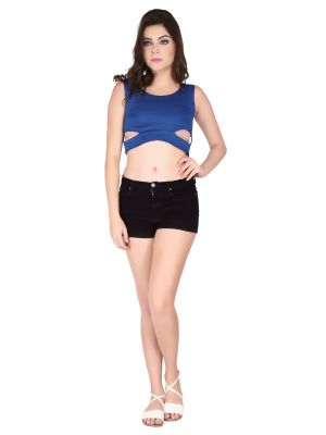 Buy Soie Royal Blue Poly Lycra Crop Top For Women online